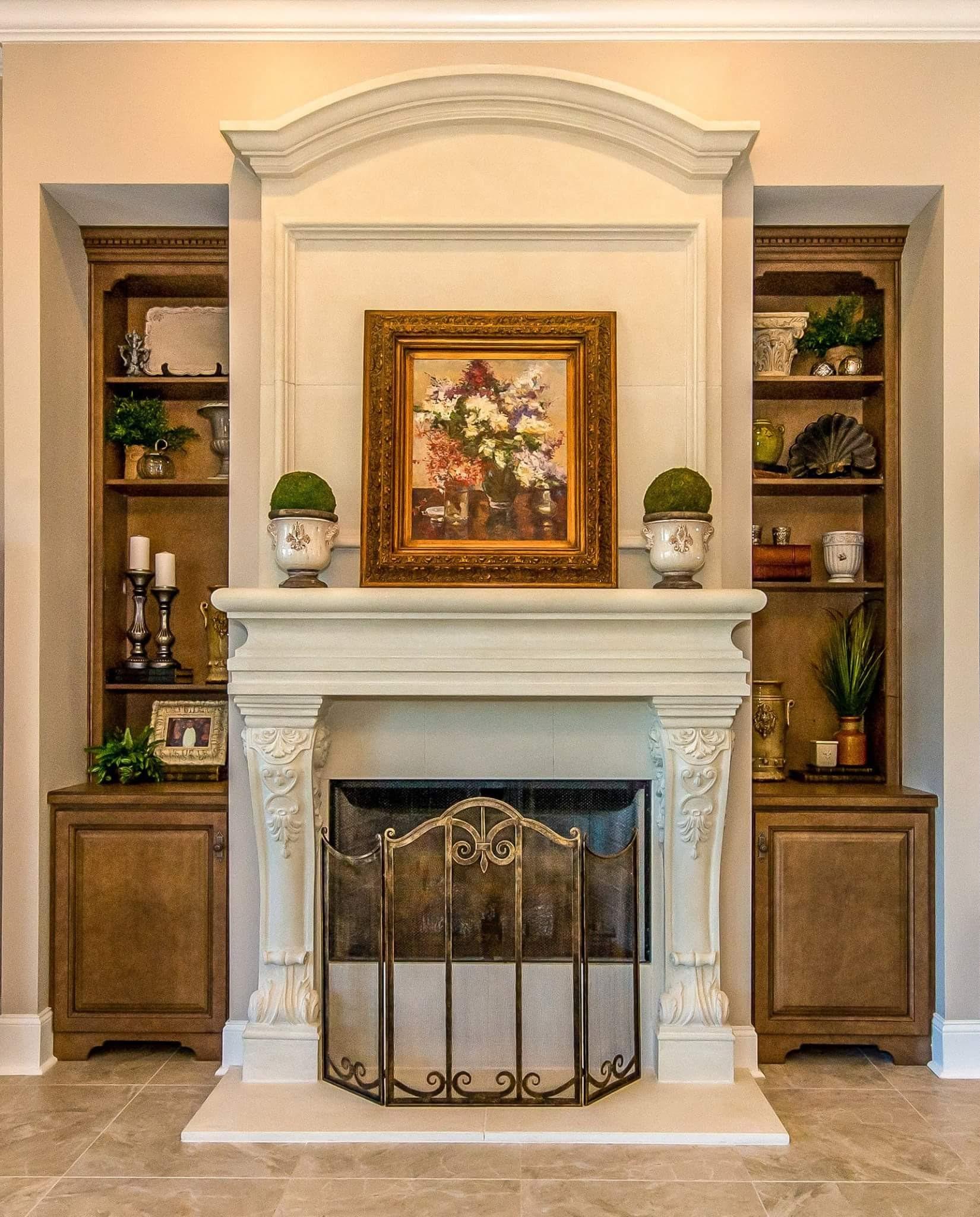 Cast Stone Fireplace Overmantel Photo - Fireplaces in Atlanta